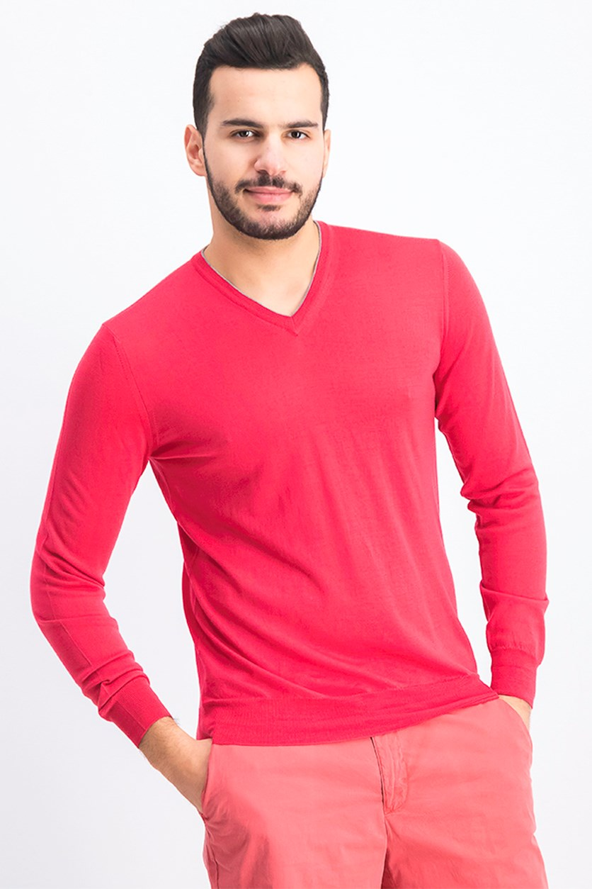 Men's Mayfair V-Neck Sweater, Dark Pink