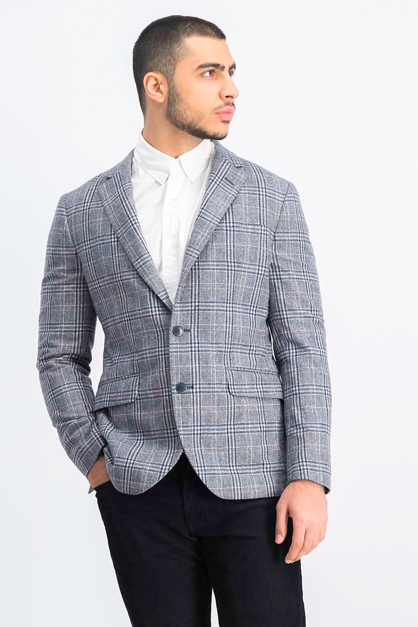 Men's Long Sleeve Plaid Blazer, Blue/Beige