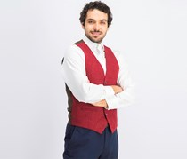 Men's Edwardian Waist Coat, Red/Brown