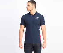 Men's Short Sleeve Slim Fit Polo Shirt, Navy/Red