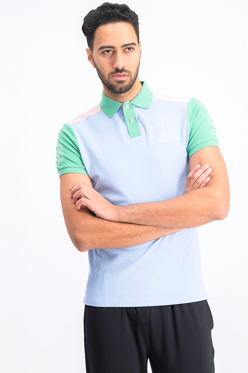 Men's Colorblock Polo Shirt, Sky Combo