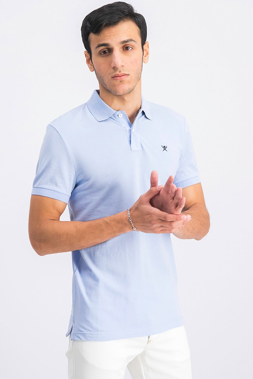 Men's Short Sleeve Slim Fit Polo Shirt, Sky Blue