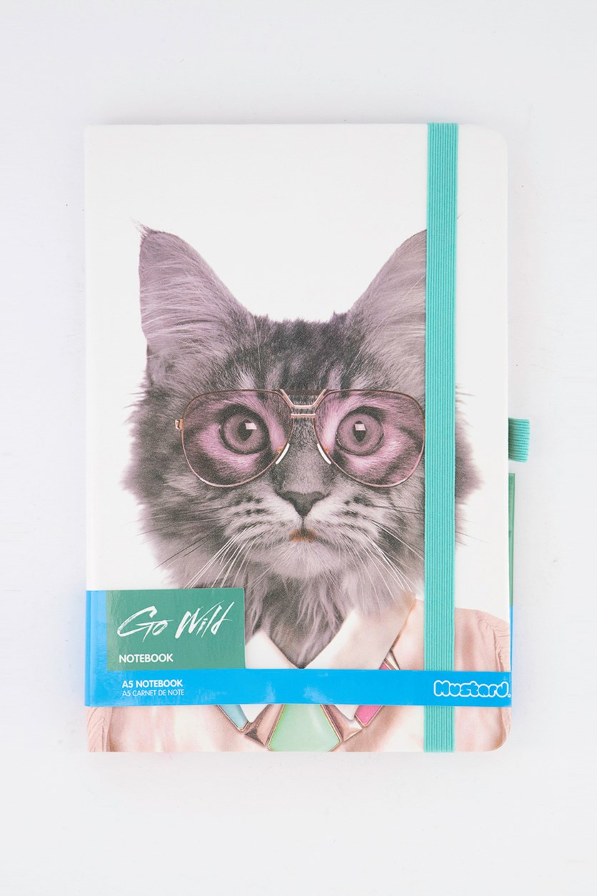 Go Wild Notebook Cat, White Combo