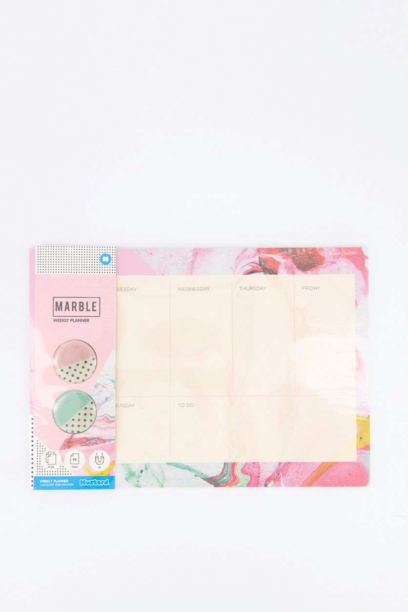 Marble Weekly Planner, Pink Combo