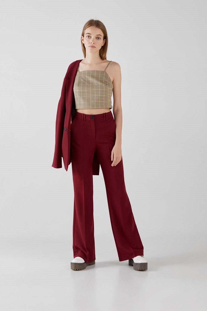 Women's Flared Trouser, Burgundy