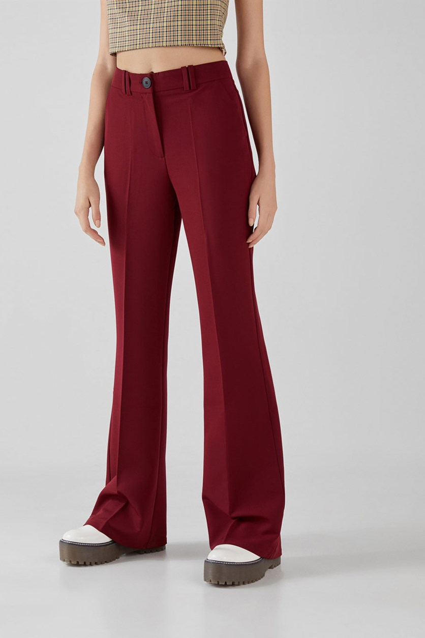 Women's Flared Trousers, Burgundy