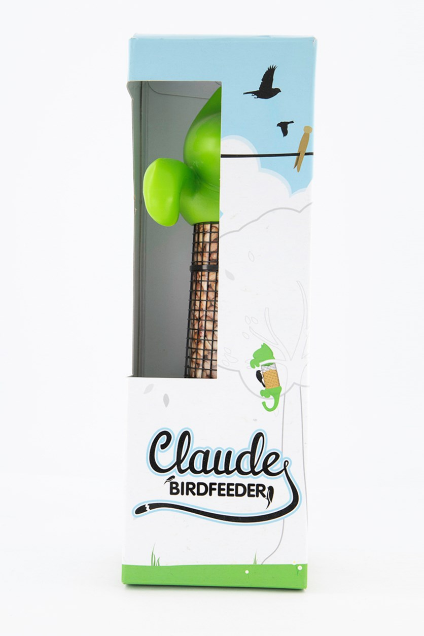 Claude Cat Shaped Bird Feeder, Green/Black