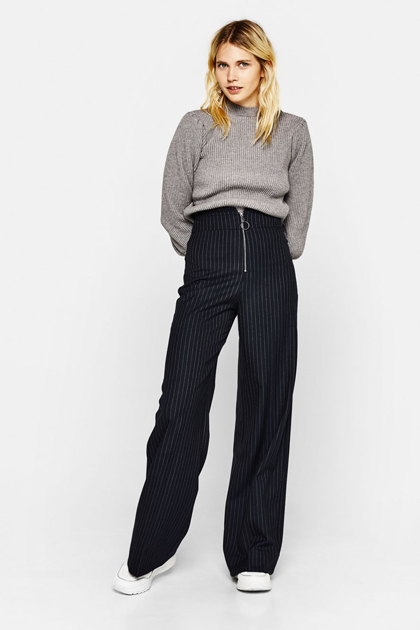 Women's Pinstriped Palazzo Trousers, Navy
