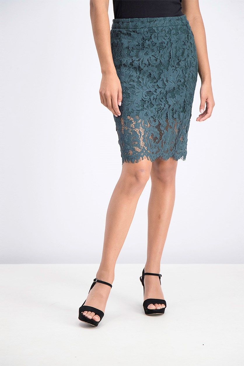 Women's Petite Laced Skirt, Teal Green