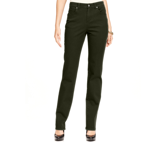 Style & Co. Women's Tummy-Control Colored Wash Straight-Leg Jeans, Olive