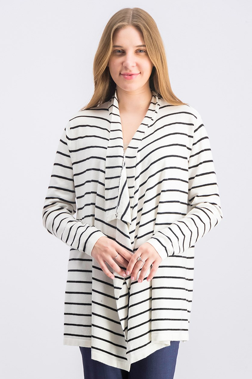 Women's Striped Open Front Cardigan, White/Black