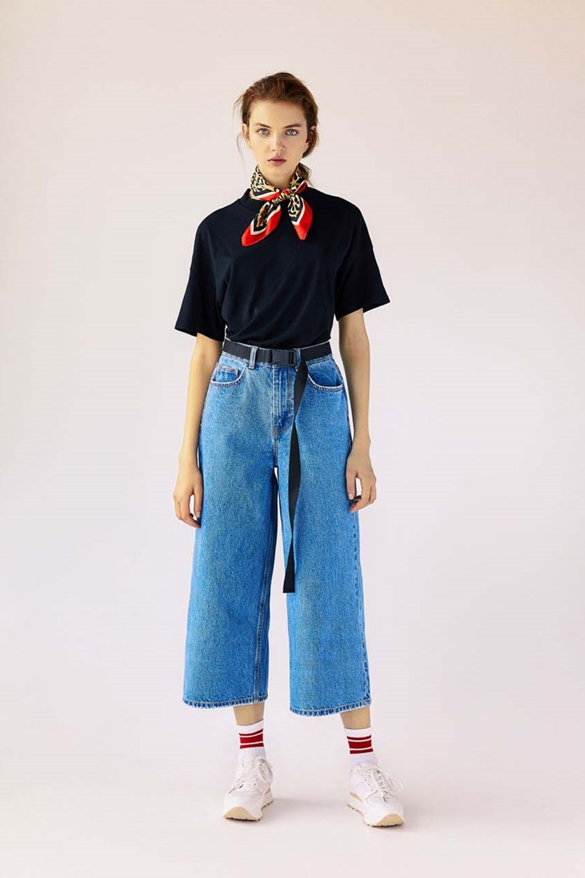 Women's High-Waist Denim Culottes Jeans, Medium Blue