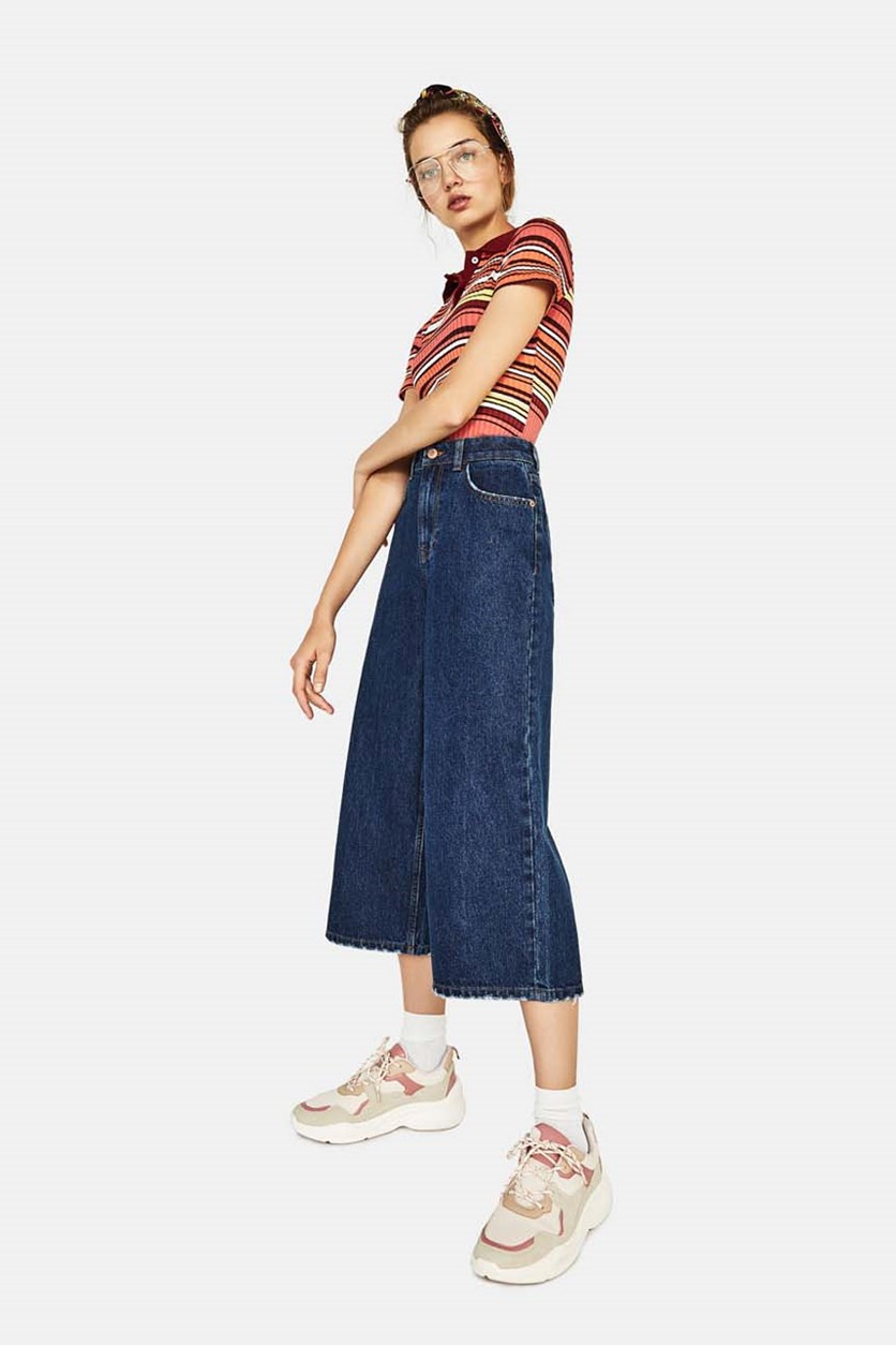 Women's High-Waist Denim Culottes Jeans, Indigo