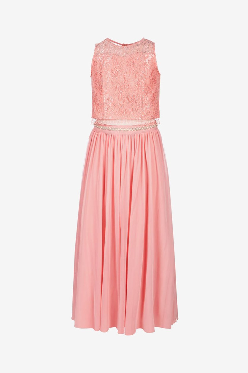 Big Girls Plus 2-Pc. Glitter-Lace Maxi Dress, Peach