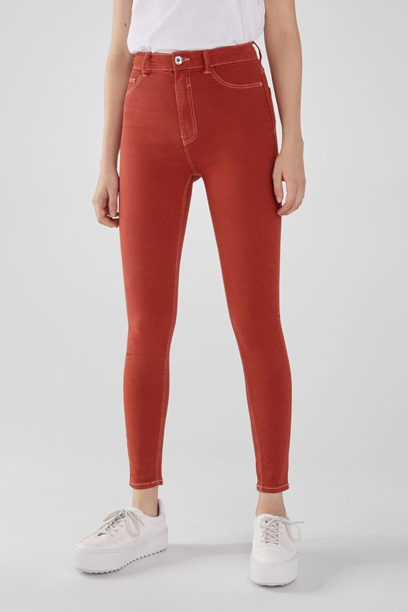Women's High-Rise Stretch Super Skinny Jeans, Rust