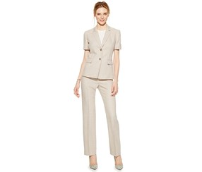 Tahari Women's Petite Melange Two-Button Pantsuit, Beige