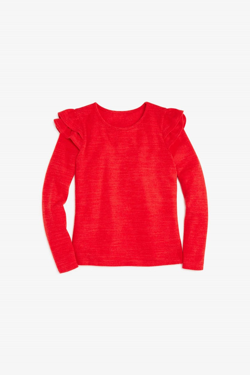 Big Girls' Ruffled-Shoulder Sweater, Red