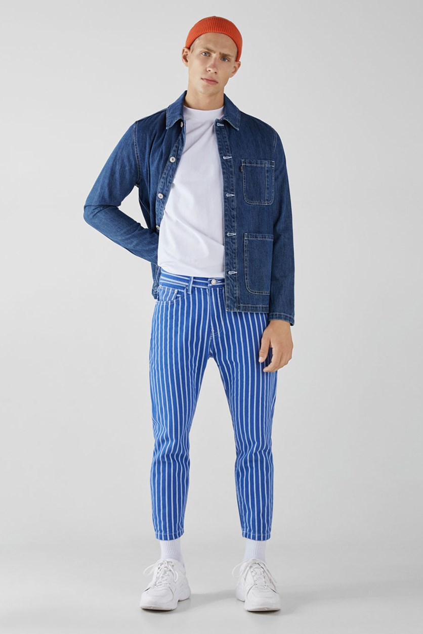 Men's Stripe Slim Fit Jeans, Blue/White