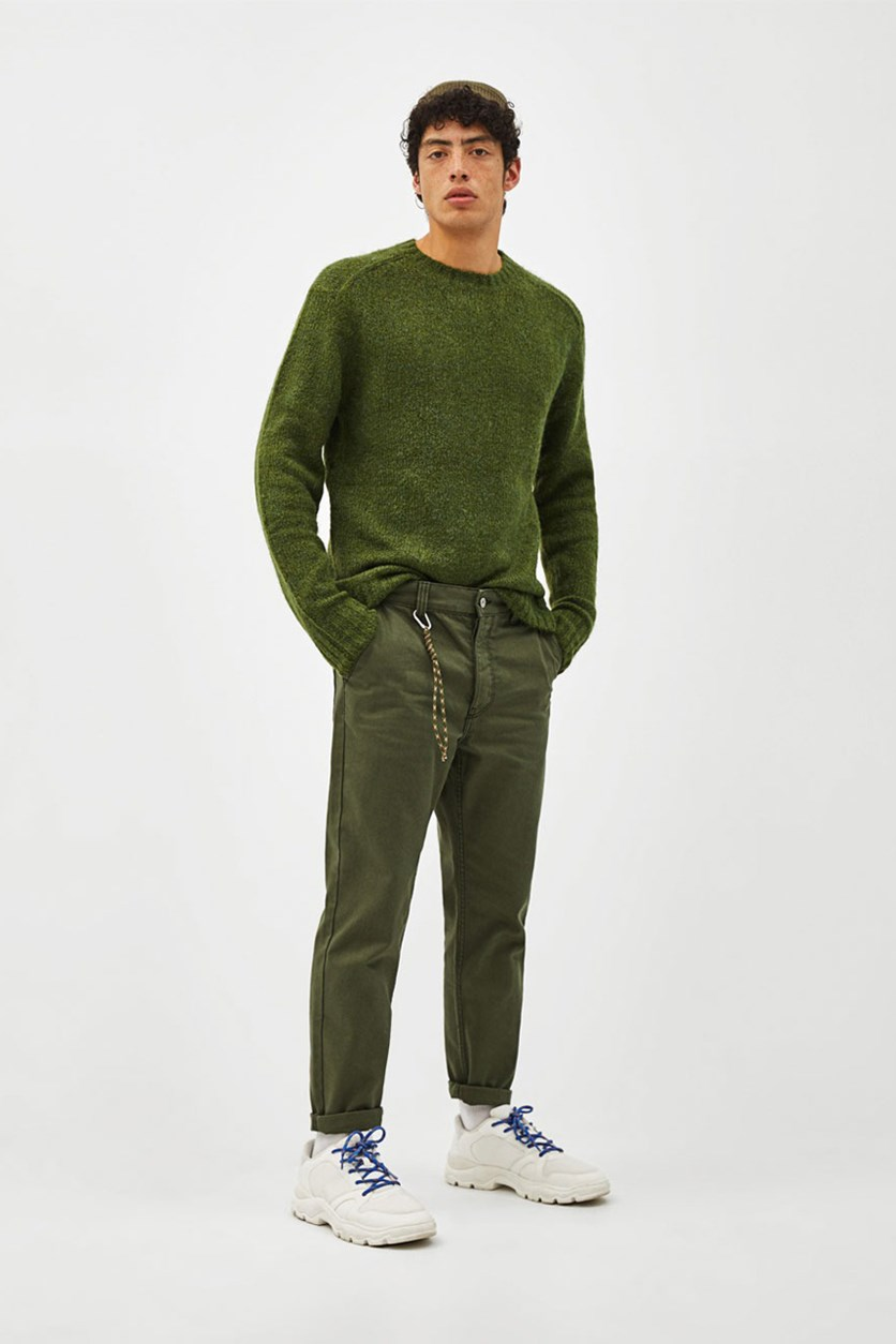 Men's Slim Fit Pants, Olive Green