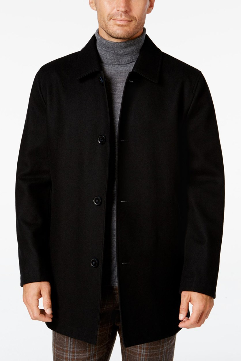 Men's Reversible Wool Blend Overcoat, Black