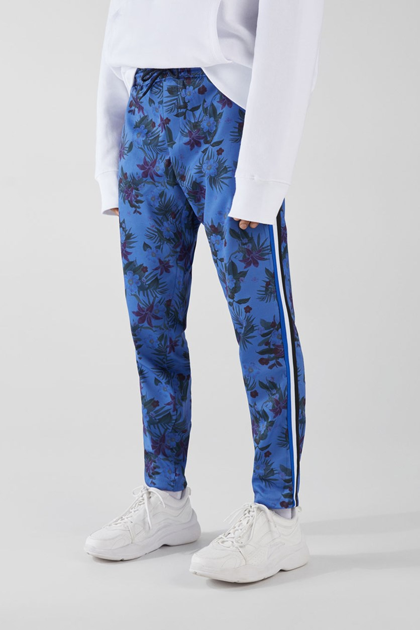 Men's Allover Print Trousers, Blue Combo