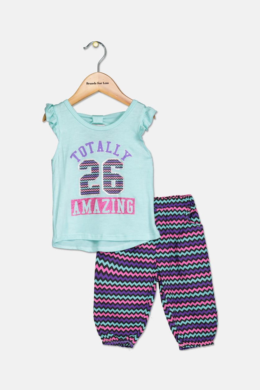 Little Girl's Top & Bottom Set, Turquoise Combo