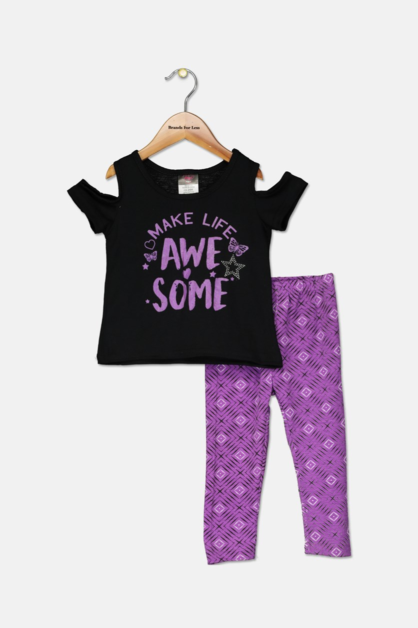 Little Girl's Top & Leggings Set, Black/Purple