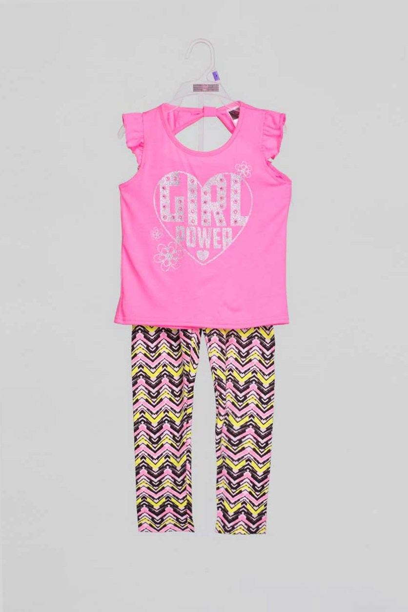 Toddler Girls 2 Piece Top & Leggings Set, Pink Combo