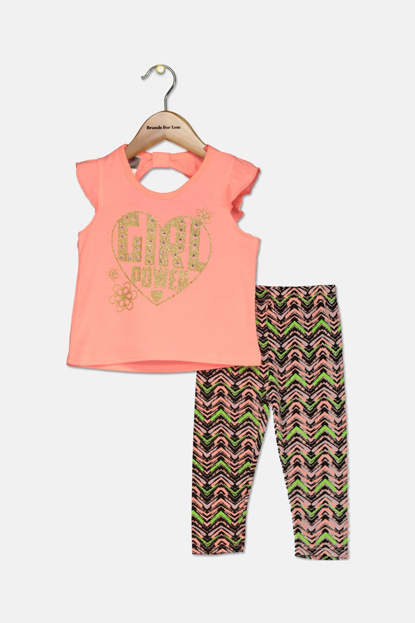 Todder Girls 2 Piece Top & Leggings Set, Neon Orange Combo
