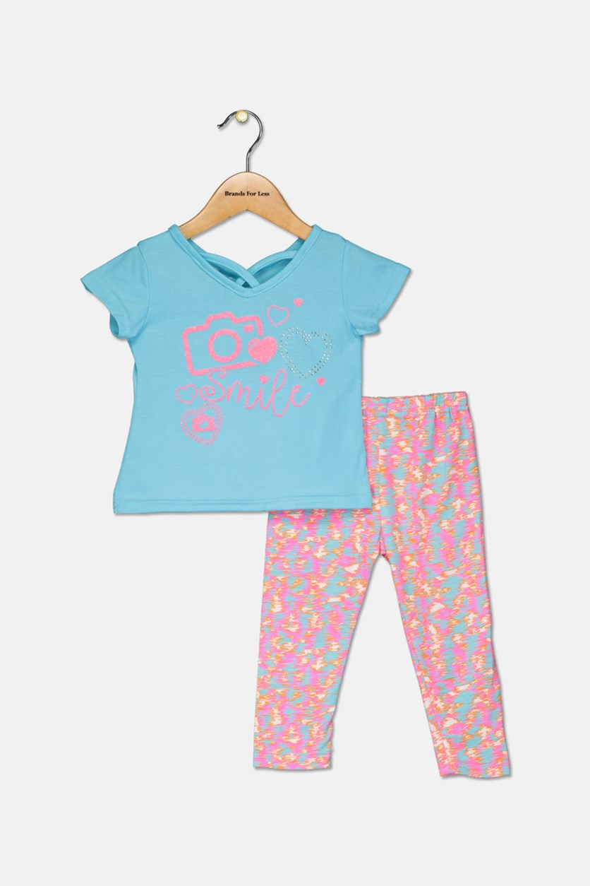 Toddler Girls Fashion Top With Leggings Set, Blue/Pink Combo