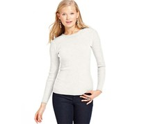Hooked Up Women's Long Sleeve Ribbed Sweater, White
