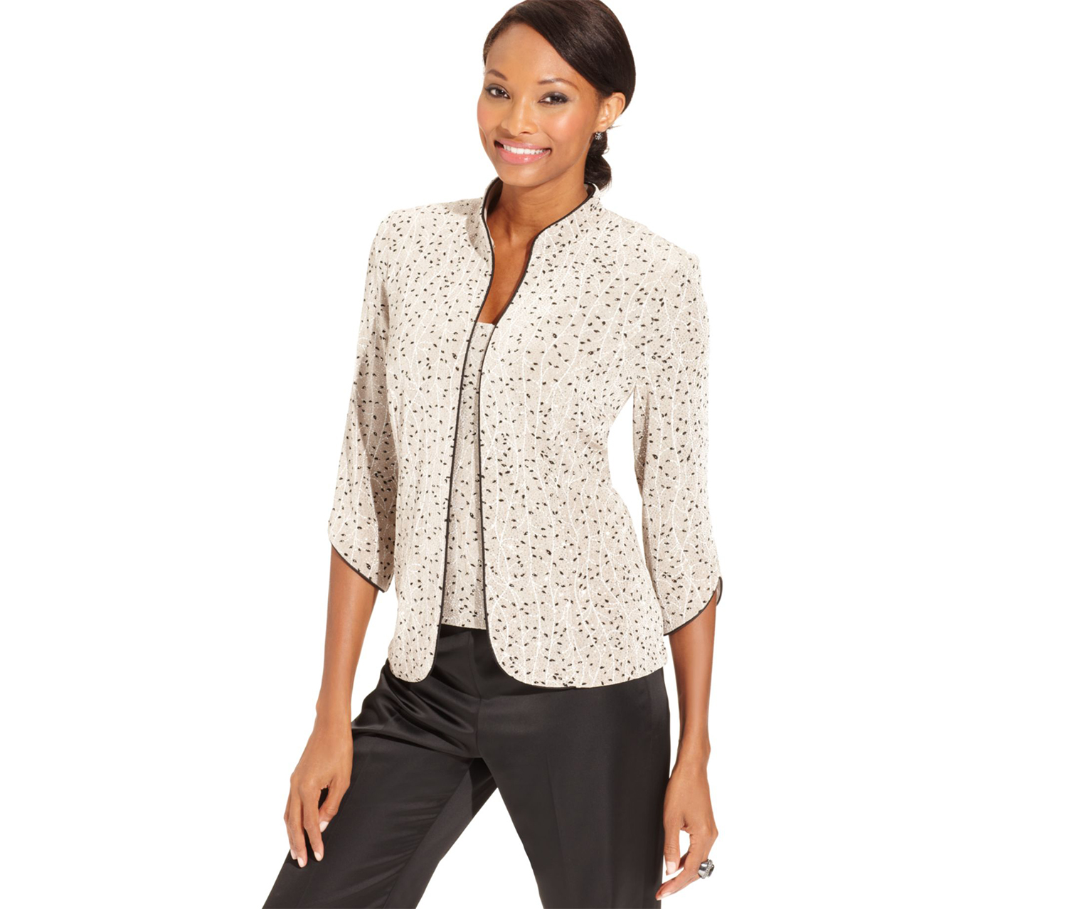 Women's Three-Quarter-Sleeve Floral-Print Jacket and Top, Beige