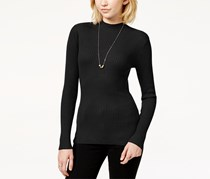 Hooked Up Women's Rib-Knit Fine-Gauge Pullover Sweater, Black
