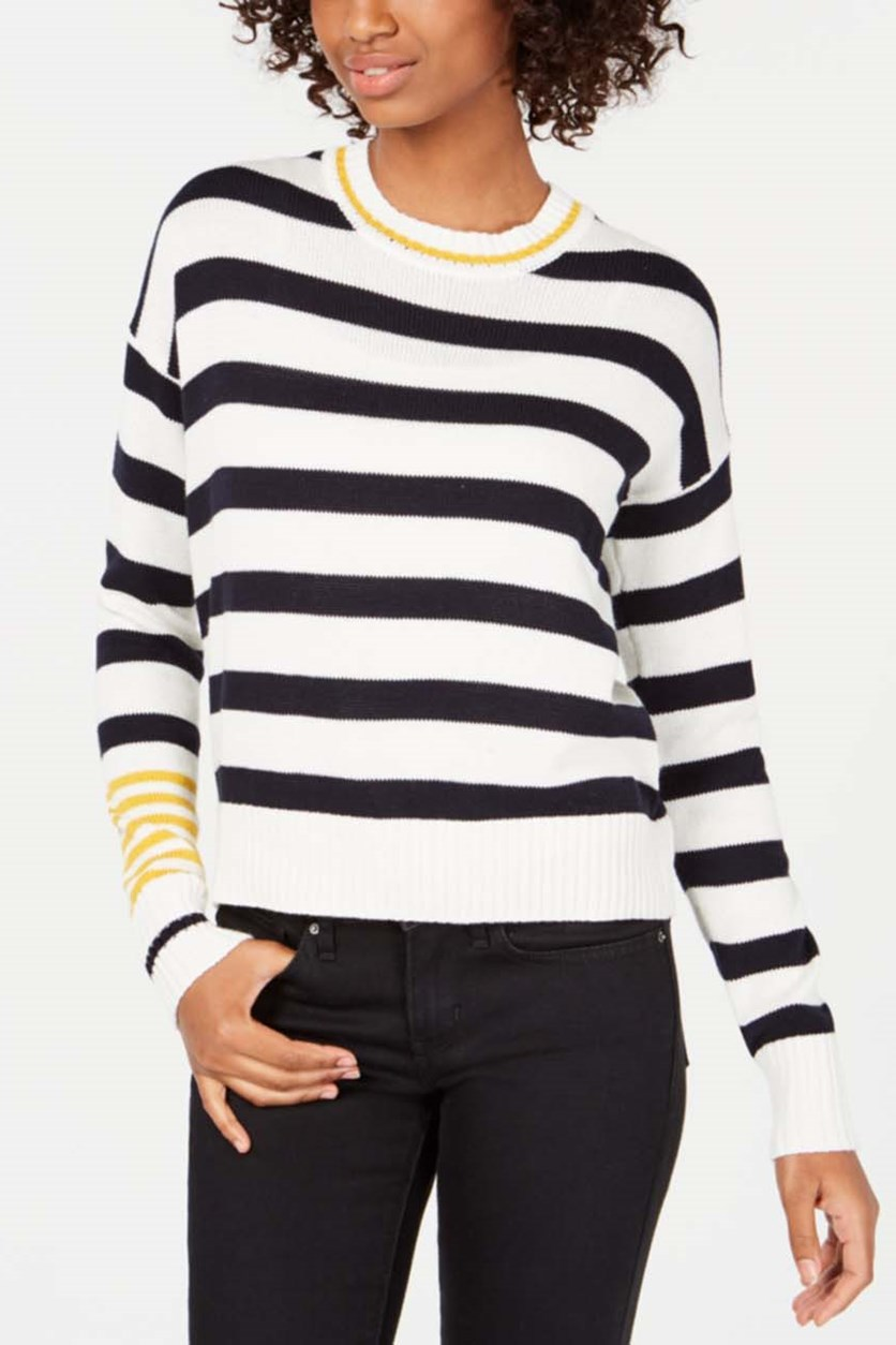 Juniors' Contrast Striped Sweater, Black/White