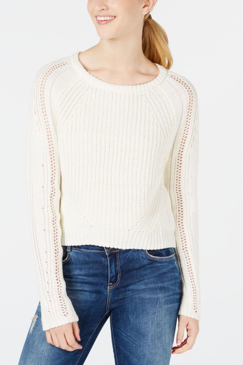 Juniors' Cropped Sweater, White
