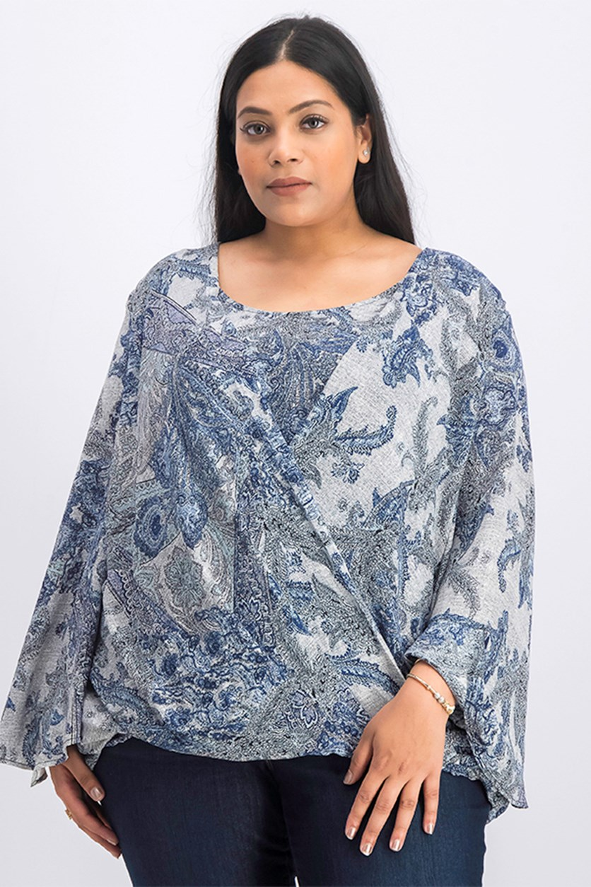 Women's Plus Size Printed Tops, Blue Combo