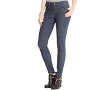Suede Junior's Rib-Knit Detail Skinny Jeans, Dark Wash