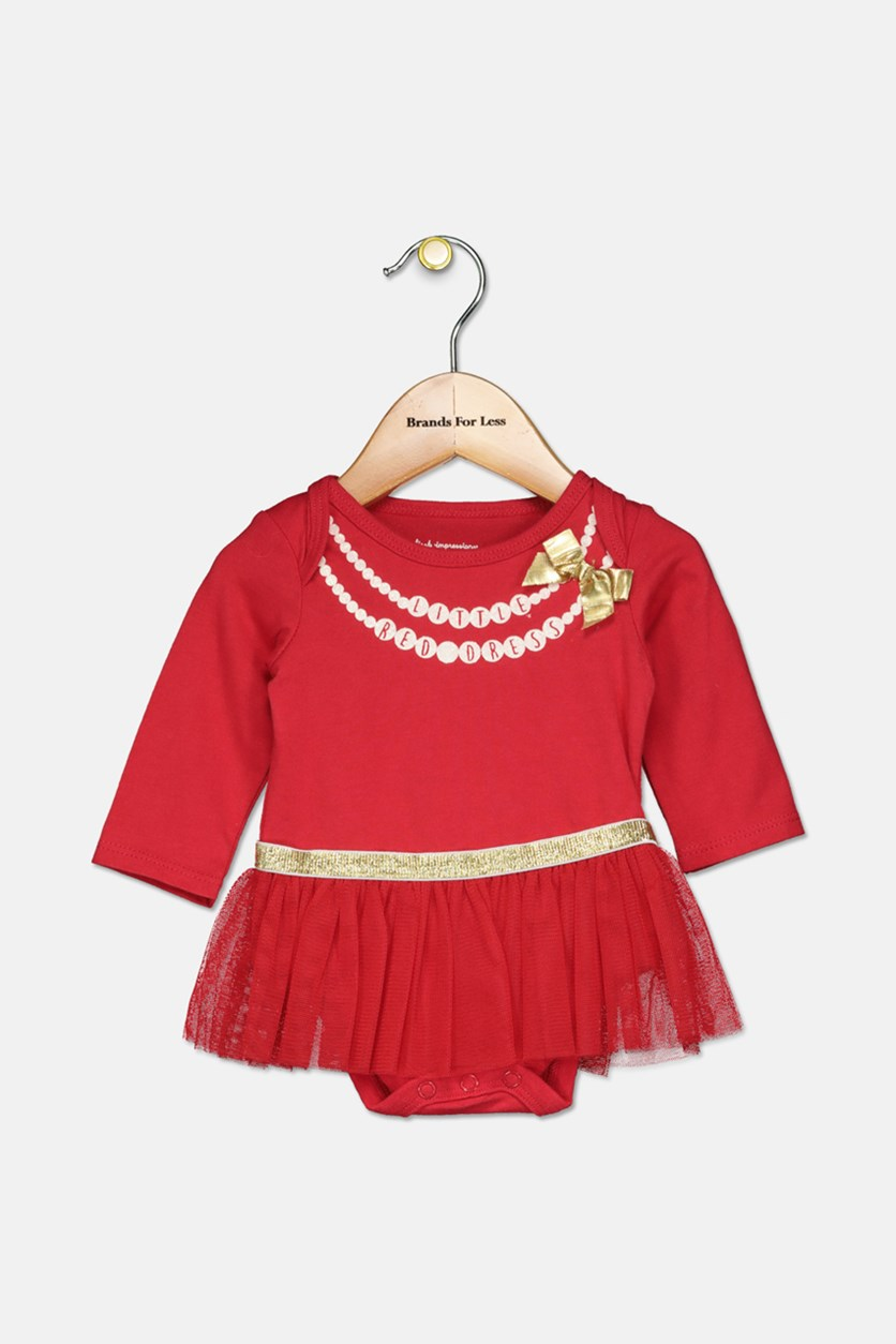 Baby Girls Tutu Bodysuit, Red