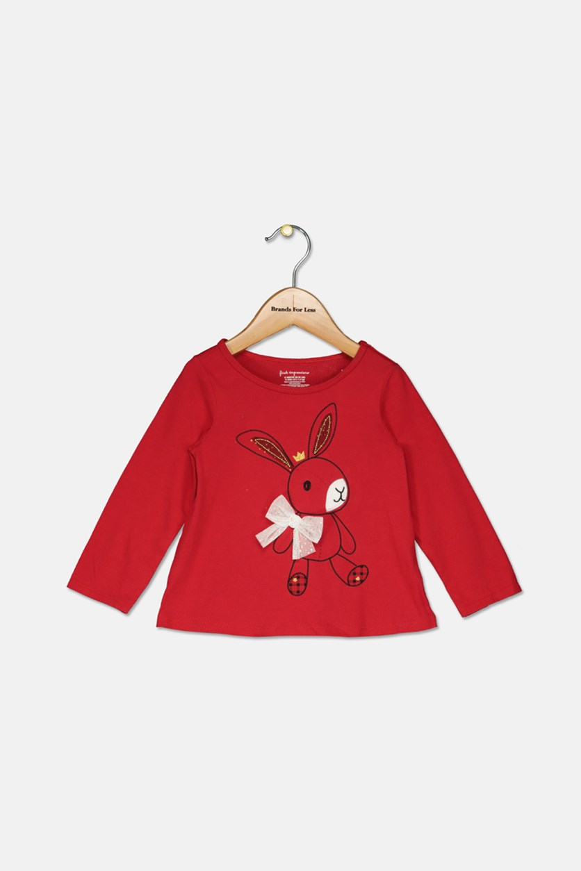Baby Girls Long-Sleeve Cotton Bunny T-Shirt, Red