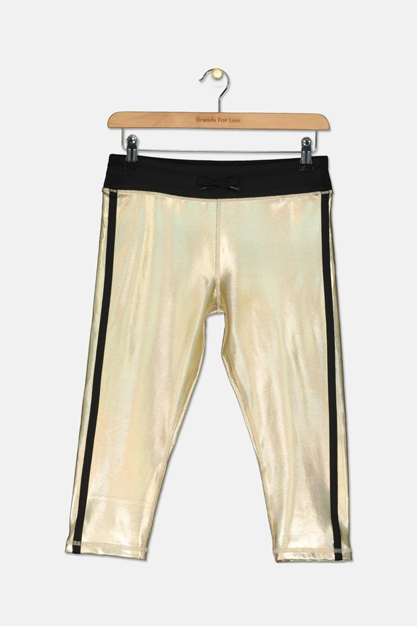Big Girls Plus Metallic Capri Leggings, Gold