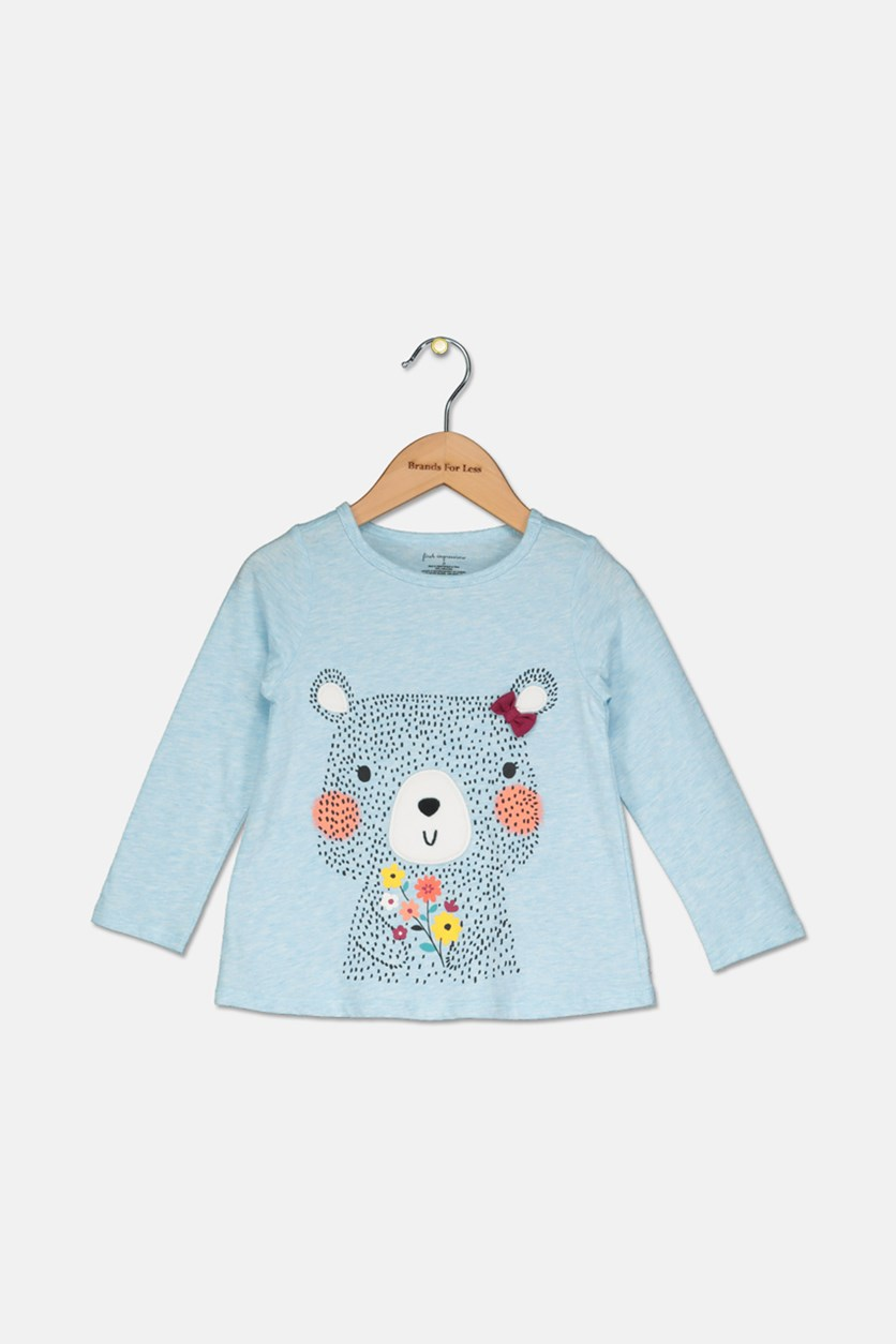 Baby Girl Flower Bear Graphic T-Shirt, Blue Sky Heather