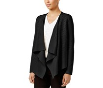 Alfani Women's Petite Slit-Detail Draped Cardigan, Black