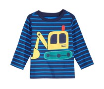 First Impressions Boy's Digger-Print Cotton T-Shirt, BLue