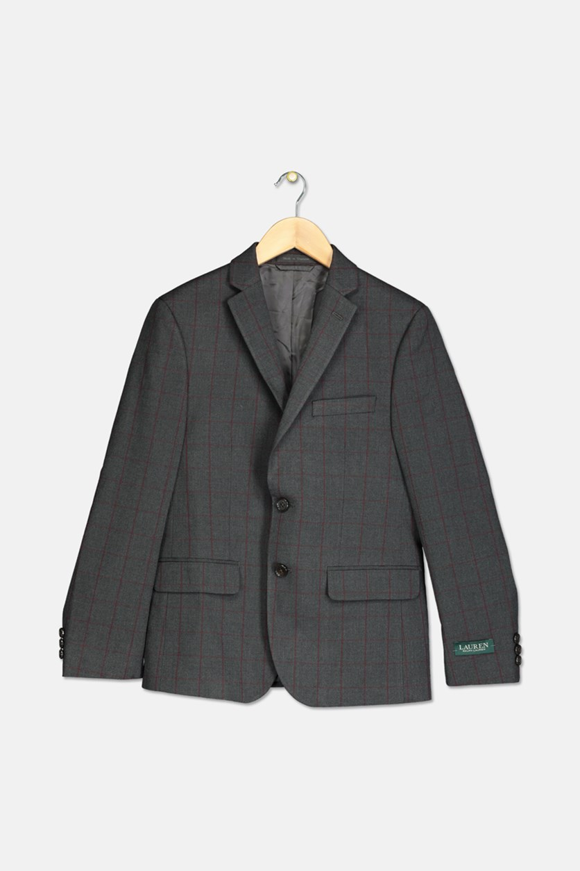 Big Boys Plaid Suits Jacket, Charcoal