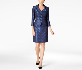 Tahari Women's Jacquard Skirt Suit, Blue