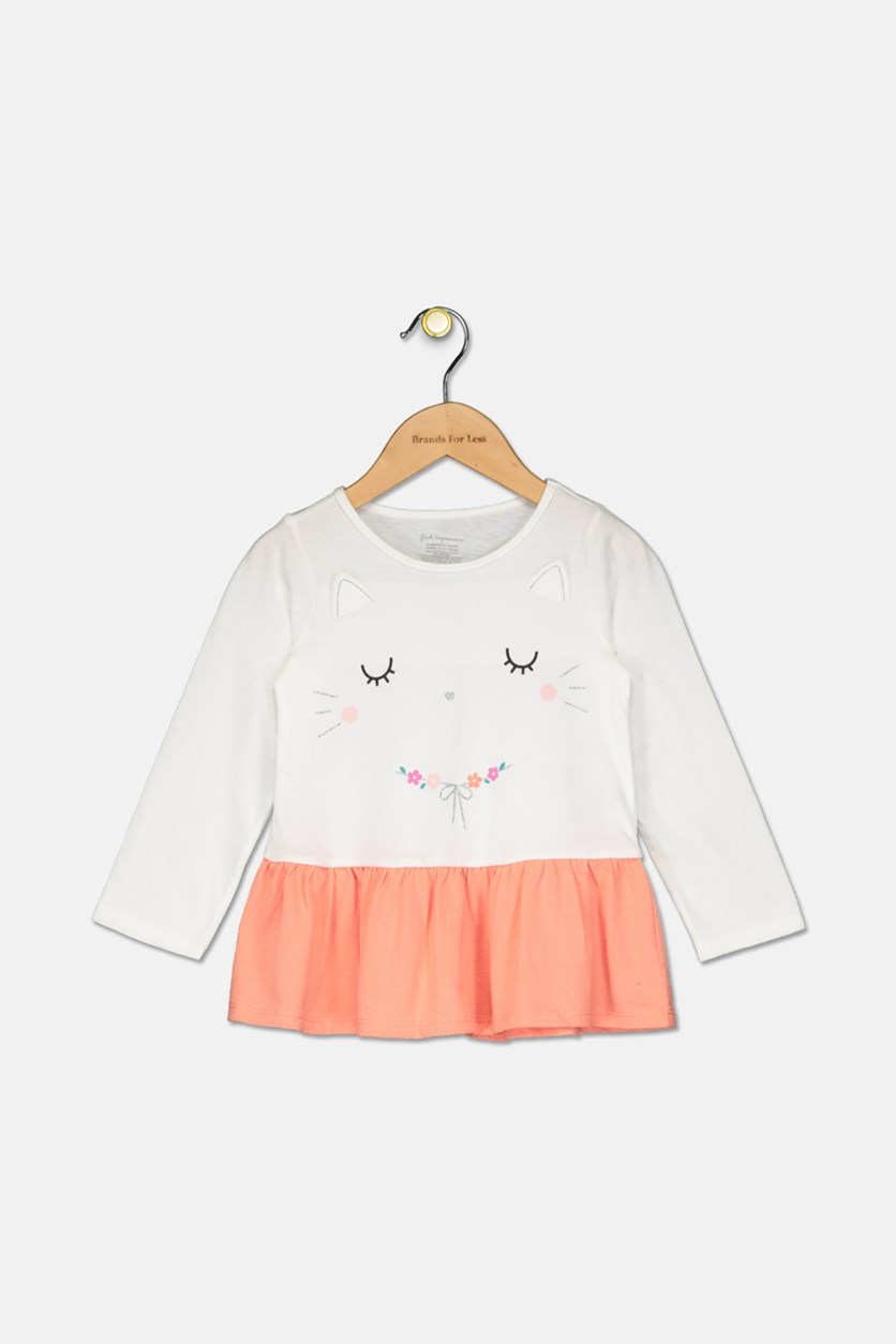 Baby Girls Kitty-Print Cotton Peplum Tunic, Angel White