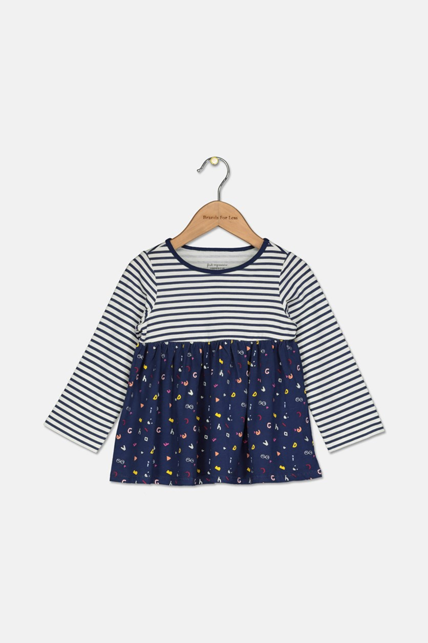 Toddler Girls Alphabet-Print Cotton Babydoll Tunic, Navy/White