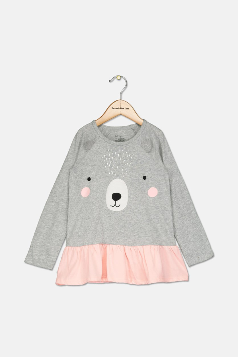 Baby Girls Bear-Print Cotton Peplum Tunic, Heather Storm