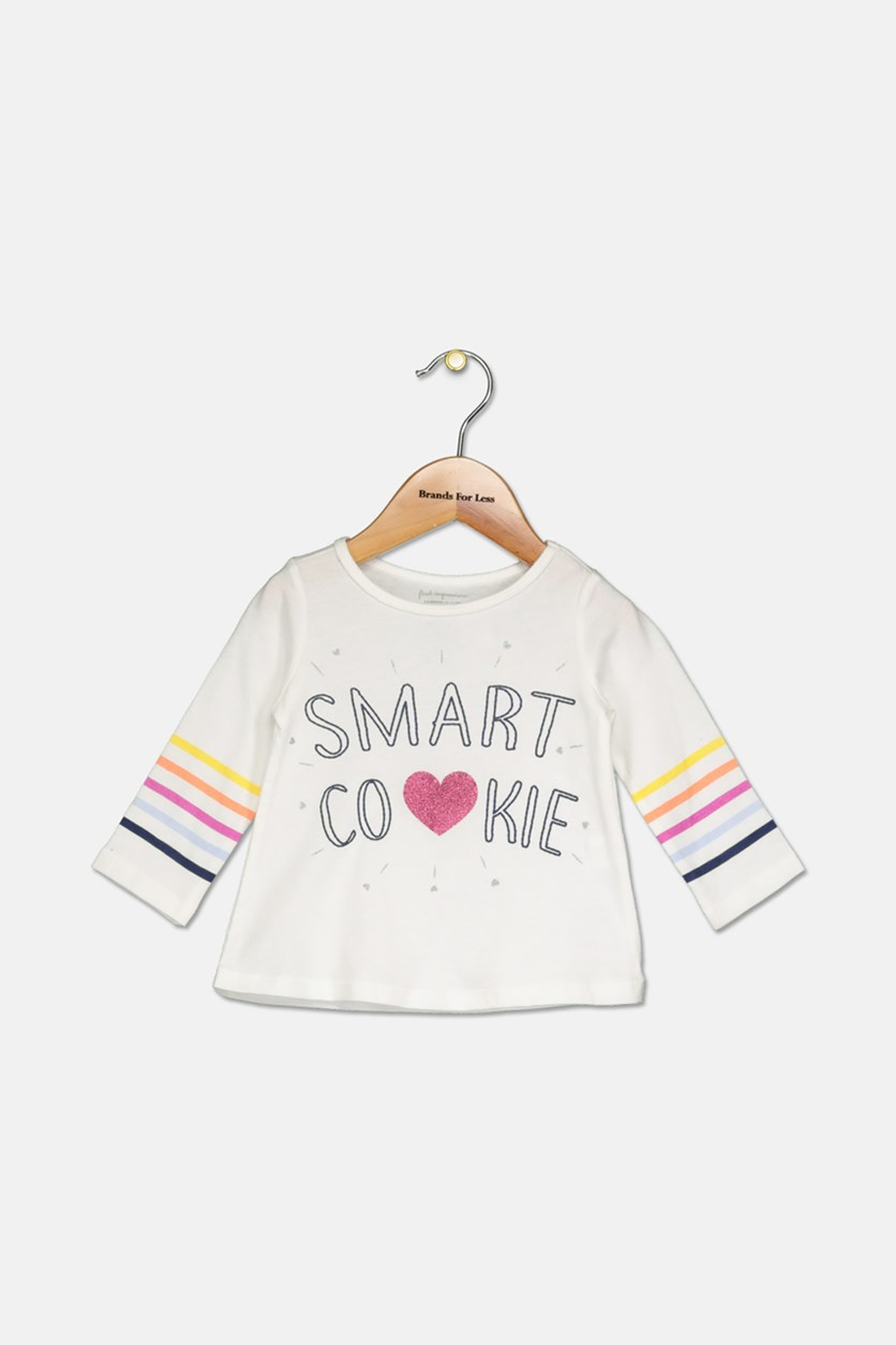 Baby Girls Smart Cookie-Print T-Shirt, Angel White