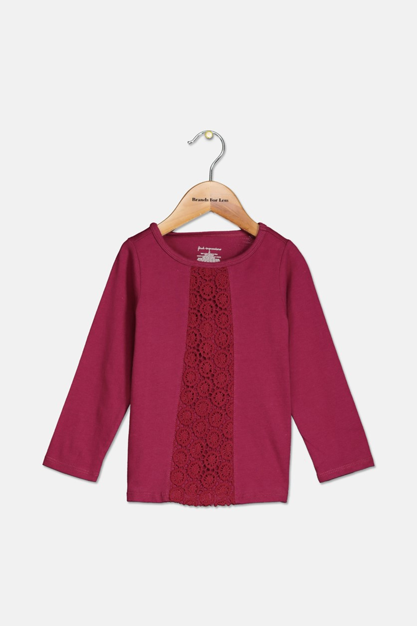 Baby Girls Crochet-Detail Cotton Tunic,  Autumn Red/Purple